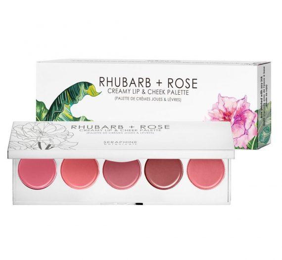 Seraphine Botanicals Rhubarb + Rose Creamy Lip and Cheek Palette